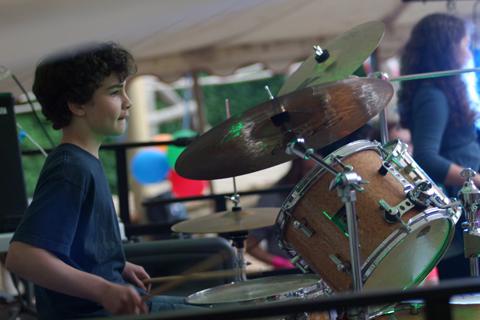 Tris as drummer